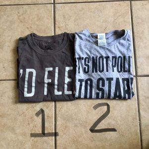 2 T-Shirts with funny phrases